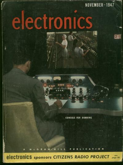 Design of Mercury Delay Lines, by Sharpless, T K 'Kite' ; in, Electronics, November 1947, whole separate issue. electronics magazine, mercury delay line memory, 1947, Sharpless.