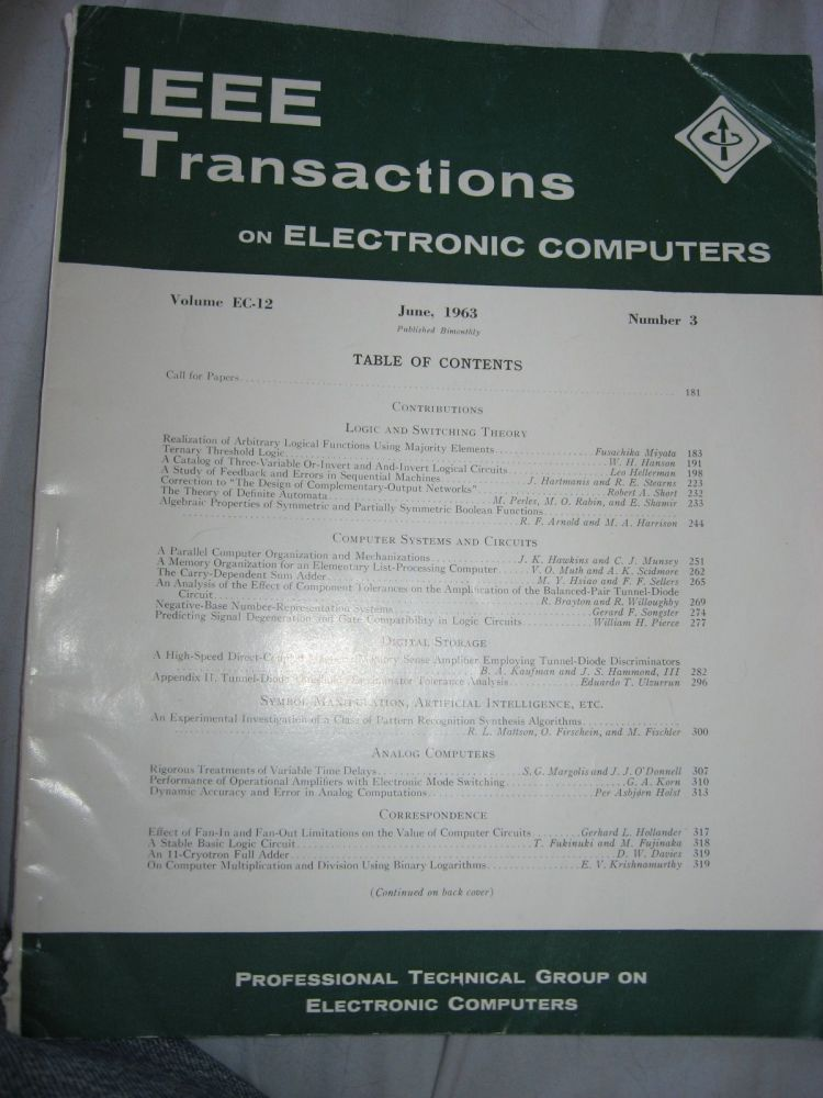IEEE Transactions on Electronic Computers, June 1963; IRE Transactions on electronic computers, Volume EC-12 Number 3 June 1963. Professional Technical Group on Electronic Computers IEEE.