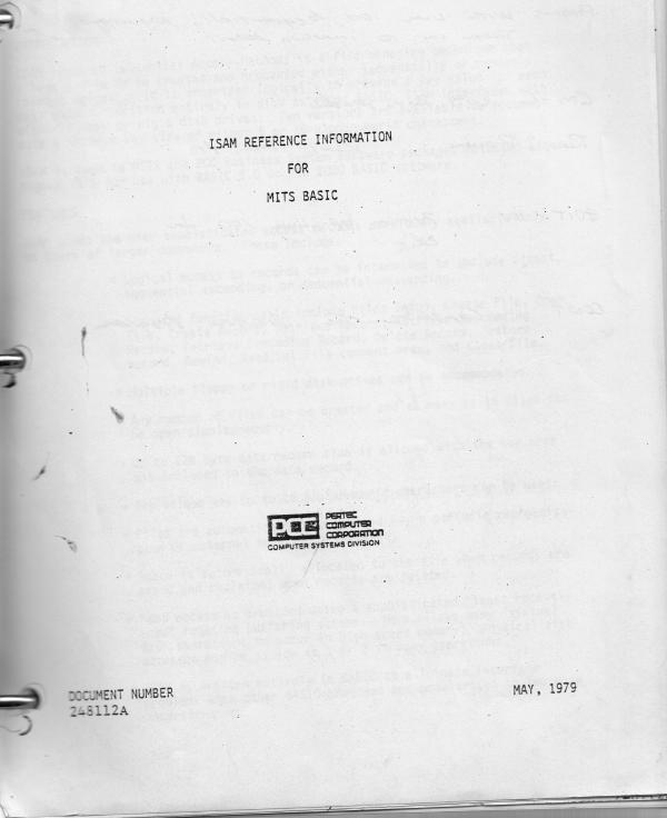 ISAM Reference Information for MITS BASIC / Pertec Computer Corporation 1979 notebook. MITS BASIC ISAM.