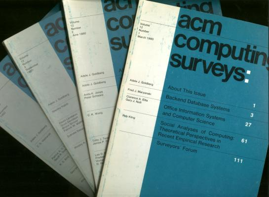 ACM Computing Surveys 1980, complete, individual issues; volume 12 nos. 1 through 4, March, June, September, December 1980. ACM Association of Computing Machinery.
