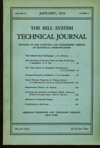 Regeneration Theory (H Nyquist] ,in, The Bell System Technical Journal volume XI no. 1 January 1932. Harry Nyquist, The Bell System Technical Journal.