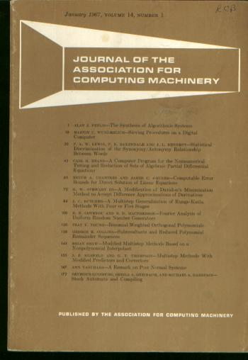 Journal of the Association for Computing Machinery [JACM] vol 14 no 1, January 1967. Journal of the Association for Computing Machinery, JACM.