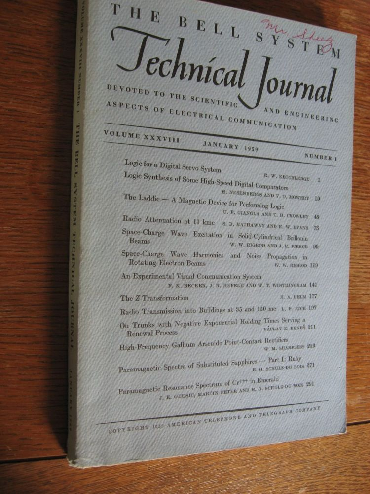 The Bell System Technical Journal vol. 38 no. 1, January 1959, volume XXXVIII number 1, single issue. Bell System Technical Journal.