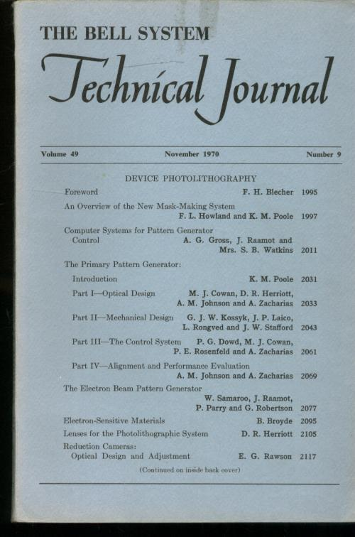 The Bell System Technical Journal volume 49 number 9, November 1970; individual issue, DEVICE PHOTOLITHOGRAPHY. var. Bell system technical journal.