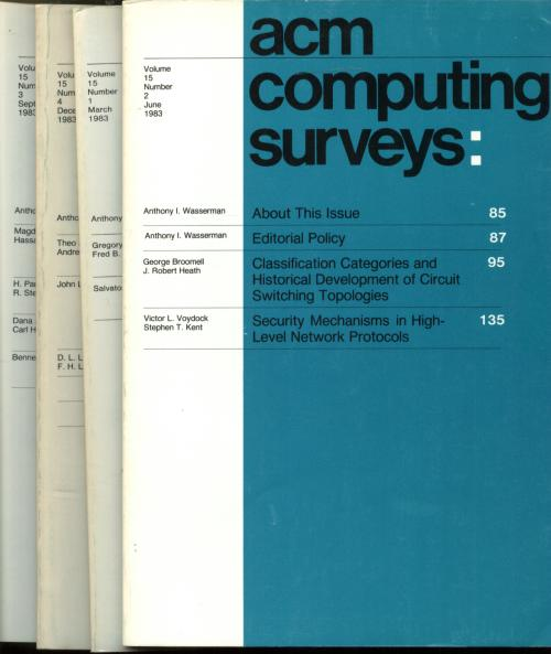 ACM Computing Surveys, 4 individual issues, complete year 1983; Volume 15 nos. 1-4, March, June, September, December 1983. Association for Computing Machinery.