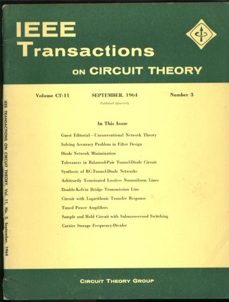 IEEE Transactions on circuit theory September 1964 vol CT-11 no 3. IEEE Transactions on circuit theory September 1964 vol CT-11 no 3.