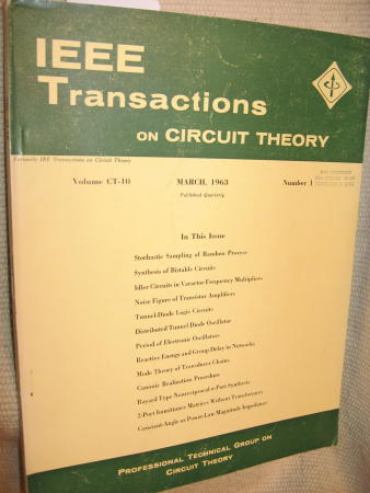 IEEE Transactions on Circuit Theory volume CT-10 Number 1 - March, 1963. IEEE Transactions on Circuit Theory / IRE.