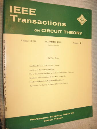 IEEE Transactions on Circuit Theory volume CT-10 Number 4 - December, 1963. IEEE Transactions on Circuit Theory / IRE.