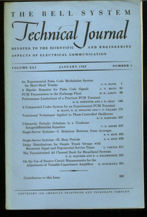 The Bell System Technical Journal volume XLI Number 1 , January 1962. The Bell System Technical Journal.