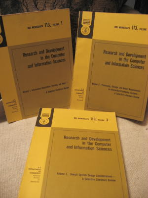Research and Development in the Computer and Information Sciences, 3 volumes complete. volumes 1 US Dept of Commerce NBS Monograph 113, 3, 2.