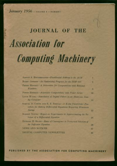 Journal of the Association for Computing Machinery, January 1956, volume 3 number 1. Digital Computer Newsletter, Journal of the Association for Computing Machinery.