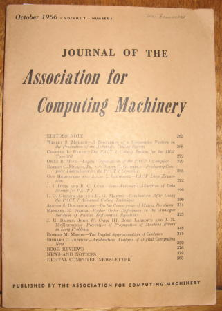Journal of the Association for Computing Machinery, volume 3, number 4, October 1956. Baker, Householder, IBM 701, PACT I.