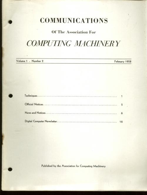 volume 1 number 2, February 1958, Communications of the Association for Computing Machinery, single issue. Communications of the ACM.