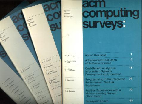 ACM Computing Surveys 1978 full year, 4 individual issues, Volume 10 nos. 1 - 4, March, June, September, December 1978. Association for Computing Machinery ACM Computing Surveys 1978.