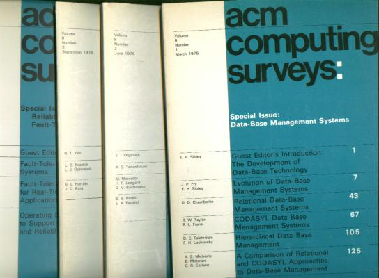 ACM Computing Surveys 1976 full year, 4 individual issues, Volume 8 nos. 1 - 4, March, June, September, December 1976. Association for Computing Machinery ACM Computing Surveys 1976.