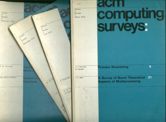 ACM Computing Surveys, volume 5 nos. 1 - 4, March 1973, June 1973, September 1973, December 1973 complete year, individual issues. ACM Computing Surveys Association of Computing Machinery ACM.