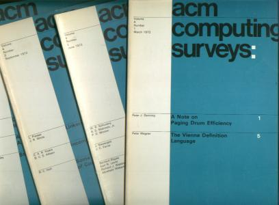 ACM Computing Surveys volume 4, nos. 1 - 4, 1972 complete year, four individual issues -- vol 4 no 1 March 1972, vol 4 no 2 June 1972; vol 4 no 3 September 1972, vol 4 no 4 December 1972. ACM Computing Surveys Association for Computing Machinery ACM.