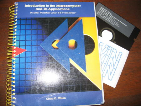 Introduction to the Microcomputer and its Applications -- PC-DOS, Wordstar, Lotus 1-2-3, and dBase -- includes Student Data Diskette 5.25 requires 256K and DOS 2.0 or higher. Chao Chien.