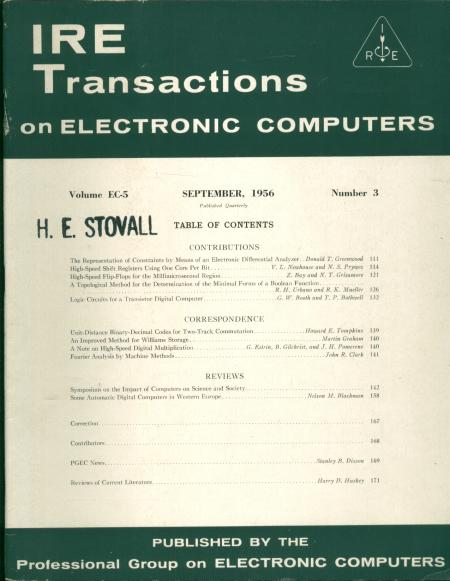 IRE Transactions on Electronic Computers September 1956, Volume EC-5 number 3. IRE Transactions on Electronic Computers.