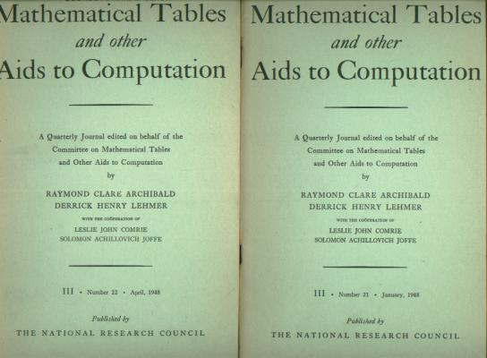 A Bell Telephone Laboratories Computing Machine, parts I and II, in, MTAC Mathematical Tables and other Aids to Computation volume III, nos. 21 and 22, January and April 1948. Franz Alt.