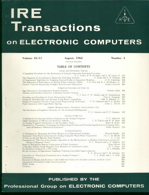 IRE Transactions on Electronic Computers August 1962, Volume EC-11 number 4