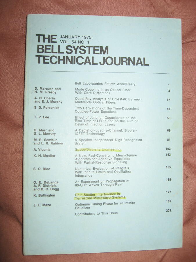 The Bell System Technical Journal volume 54 no. 1, January 1975. AT&T BSTJ.