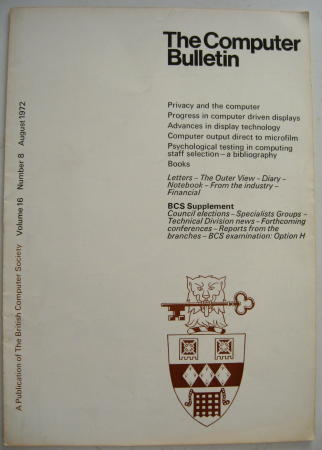 The Computer Bulletin, volume 16 number 8, August 1972. The British Computer Society.