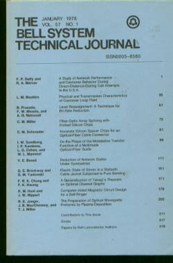 The Bell System Technical Journal vol 57 no. 1, January 1978. The Bell System Technical Journal.