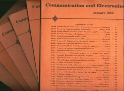 Communication and Electronics full year 6 issues 1955, includes number 16, 17, 18, 19, 20, 21, January - November. American Institute of Eectrical Engineers.