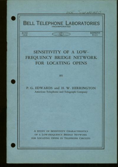 Sensitivity of a low-frequency Bridge Network for locating Opens, Bell Telephone Laboratories Monograph reprint B-321. P. G. Edwards, h w. herrington.