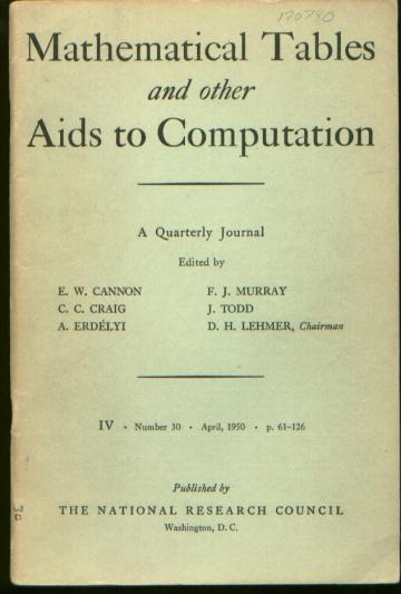 Mathematical Tables and Other Aids to Computation, Volume 4, Number 30, April, 1950. M. V. Wilkes.