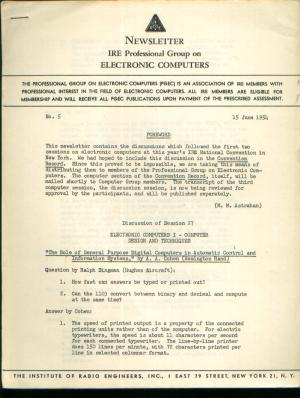 Newsletter, No. 5, 15 June 1954, Newsletter of the IRE Professional Group on Electronic Computers. IRE Professional Group on Electronic Computers.