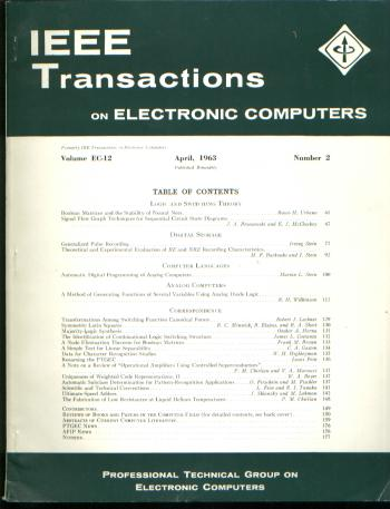 IEEE Transactions on Electronic Computers, April 1963, IRE. Volume EC-12 Number 2 April 1963 IEEE Transactions on Electronic Computers IEEE/IRE.