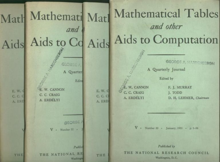 Mathematical Tables and Other Aids to Computation, four individual issues, entire year 1951 complete. Craig MTAC. Cannon, Murray, Erdekyi.