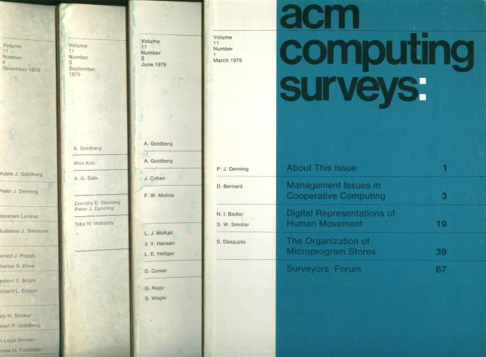 ACM Computing Surveys complete year 1979, four individual issues, March, June, September, December, volume 11 nos. 1 through 4 inclusive. var ACM.