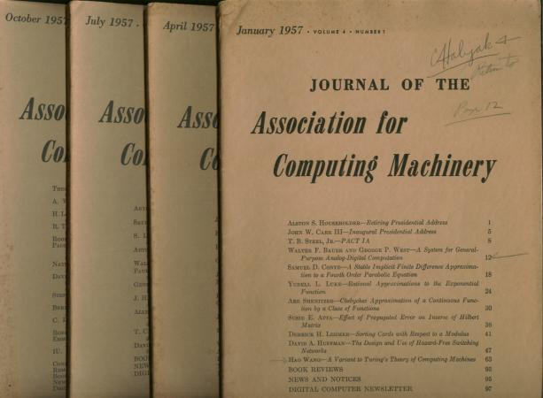The Logic of Automata, parts I and II, plus more, in, Journal of the Association for Computing Machinery, 4 individual issues, complete year 1957. Arthur W. Burks, Hao Wang, JACM.