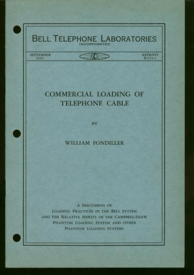 Commercial Loading of Telephone Cable - a discussion of loading practice in the Bell System and the relative merits of the Campbell-Shaw Phantom Loading System and other phantom loading systems. William Fondiller.