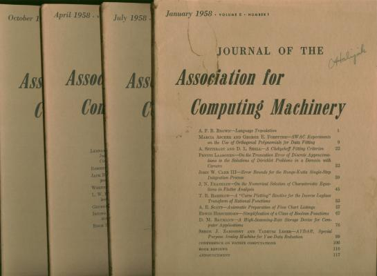 Journal of the Association for Computing Machinery, 4 individual issues, January 1958, April 1958, July 1958, October 1958; whole volume 5, numbers 1 through 4. var, Association for Computing Machinery.