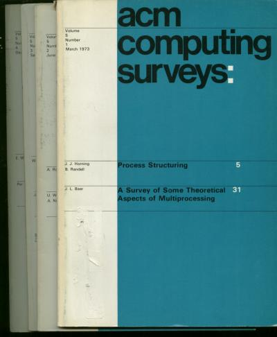 ACM Computing Surveys, volume 5 nos. 1 through 4 inclusive, 4 individual issues, 1973 complete year