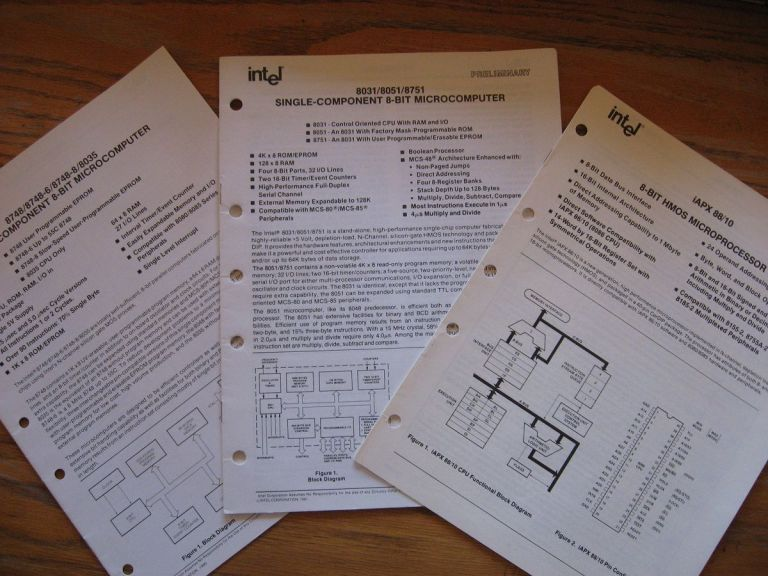 3 booklets, 2 marked Preliminary; 8-Bit HMOS Microprocessor; 8031/8051/8751 SIngle-Component 8-Bit Microcomputer; 8748/8748-6/-8/8035 Single Component 8-Bit Microcomputer. preliminary etc Intel.