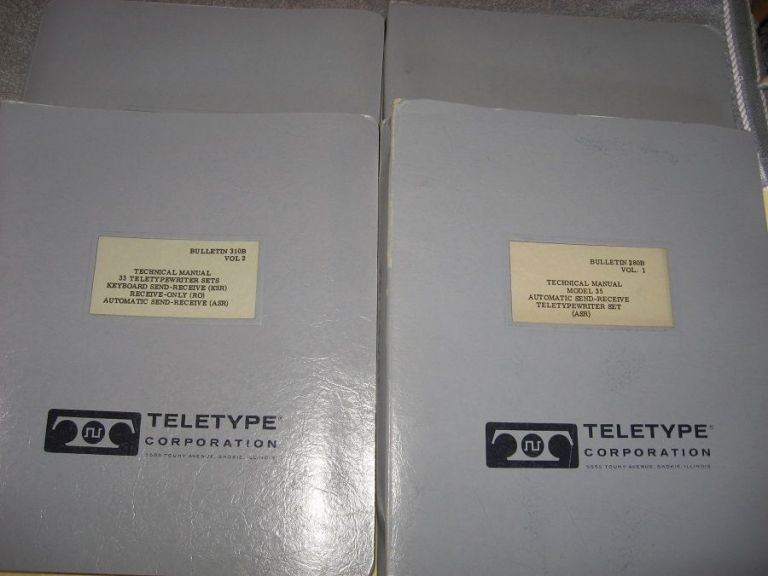 4 technical manuals in binders, Teletypewriter sets Keyboard Send-Receive, Automatic Send-receive, technical manuals 32, 33, model 35. Teletype Corporation.