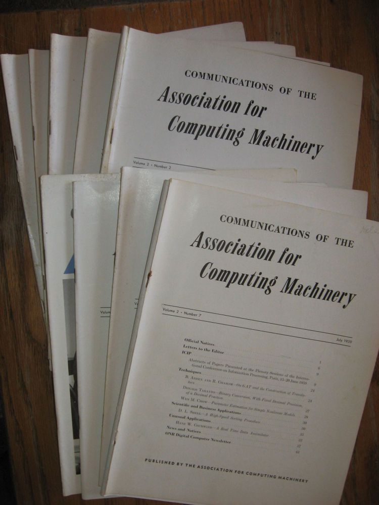 Communications of the ACM -- 1959, 9 separate issues of the 1959 volume 2. ACM Association for Computing Machinery.