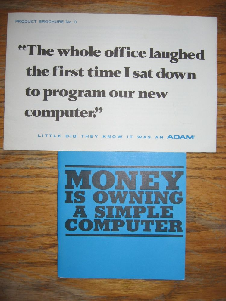 2 advertising brochures for ADAM computers, manufactured by Logical Machine Corporation (LOMAC). LOMAC ADAM.