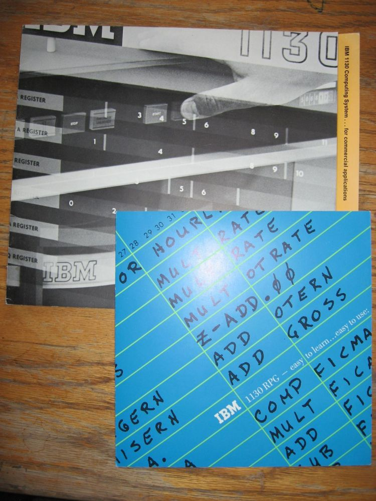 2 brochures for IBM 1130, one for the Computing System and one for IBM 1130 RPG commercial programming language. IBM.