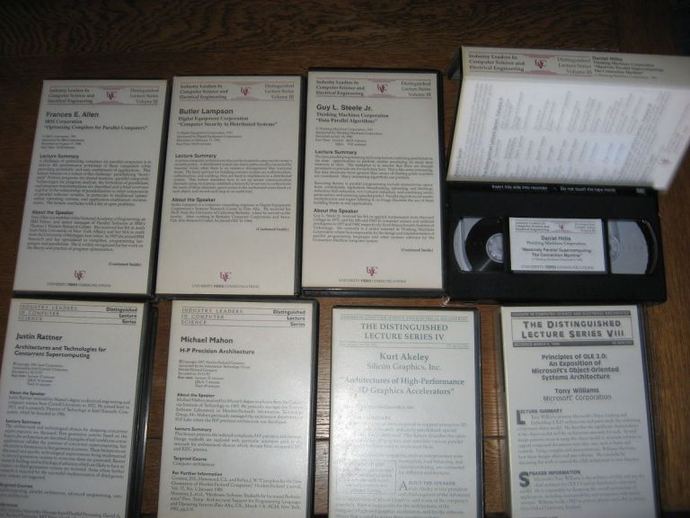 8 vhs tapes, professionally produced by University Video Communications, Inc. See List below Not the complete series. var. titles, authors, leaders in computer science Distinguished Lecture Series.