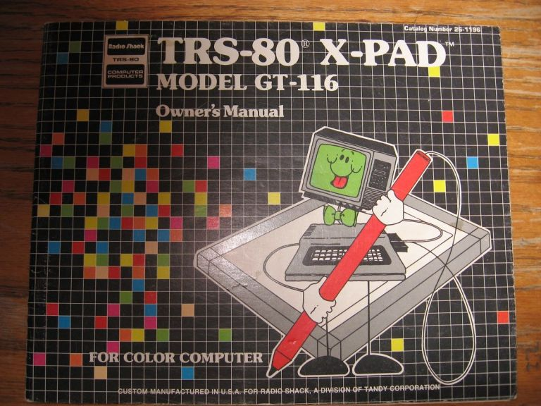 TRS-80 X-Pad Model GT-116 Owner's Manual, for color computer. Tandy Corporation Radio Shack.