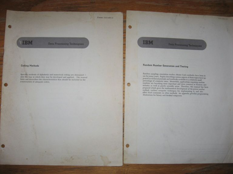 IBM Data Processing Techniques, 2 booklets - Coding Methods; Random Number Generation and Testing, 1959 and approx. 1960. IBM.