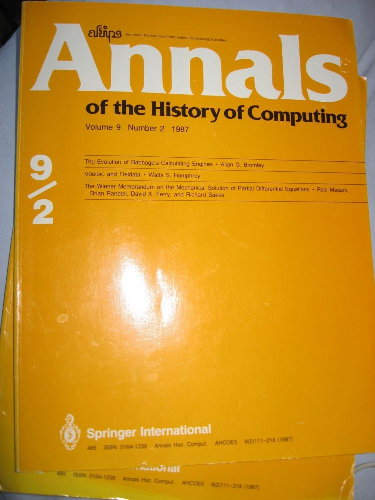 The Evolution of Babbage's Calculating Engine, in, Annals of the History of Computing, volume 9 number 2, 1987. Annals of the History of Computing AFIPS, Allan G. Bromley.