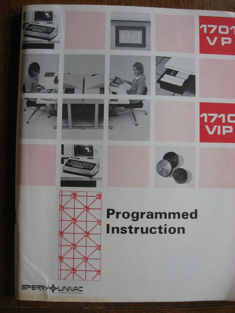 Programmed Instruction manual for 1701 VP, 1710 VIP key punch operation. Sperry Univac.