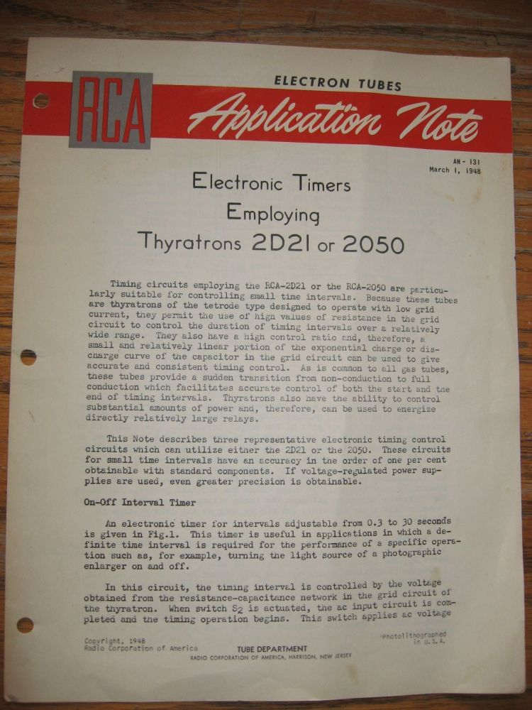Electronic Timers Employing Thyratrons 2D21 or 2050, AN-131, March 1, 1948. Electron Tubes RCA Application Notes.